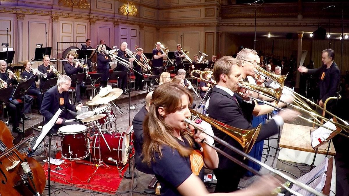 Trombonfrossa på Musikaliska i Stockholm.