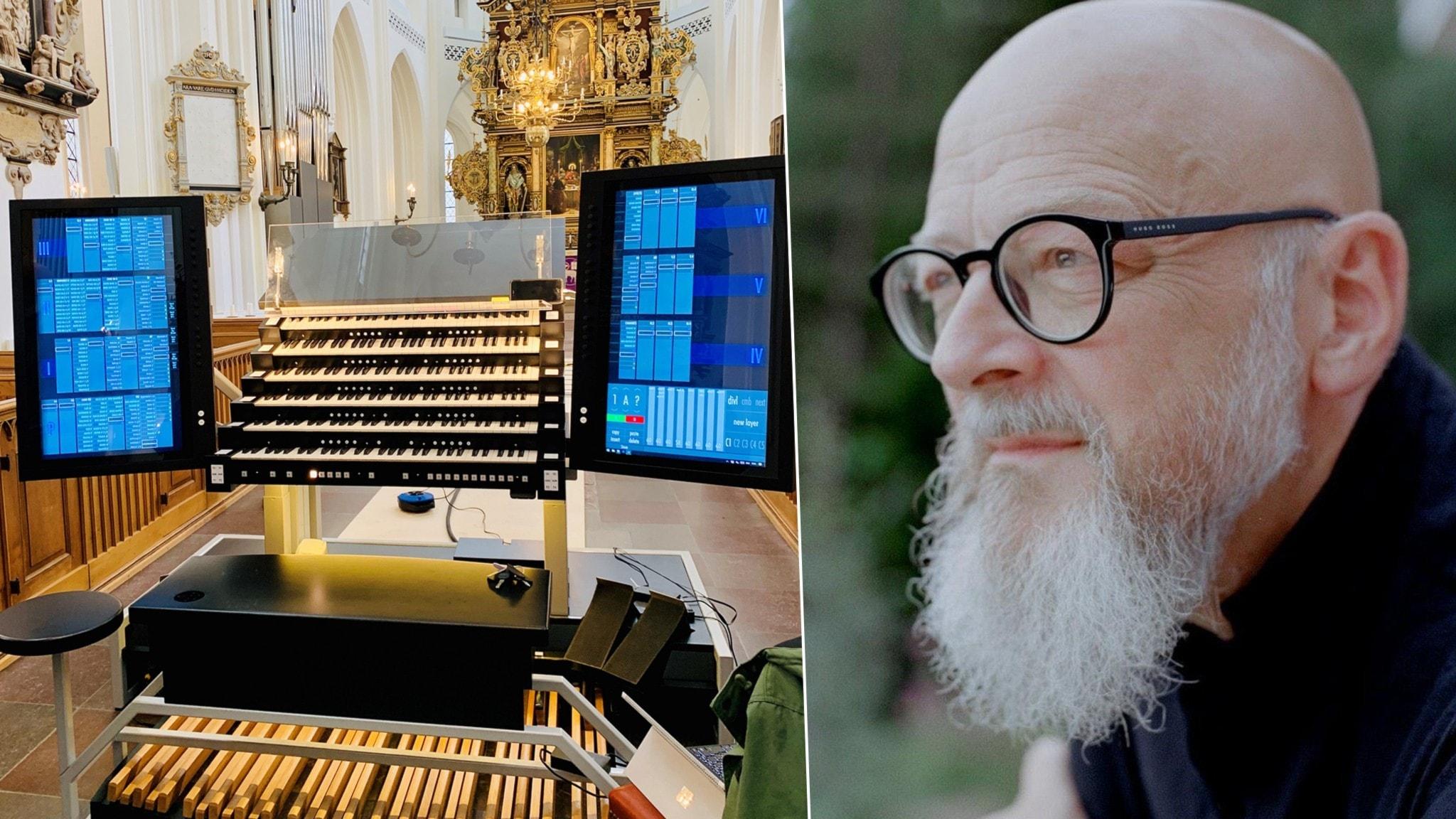 Tavlor på en utställning på hi tech-orgeln i Malmö