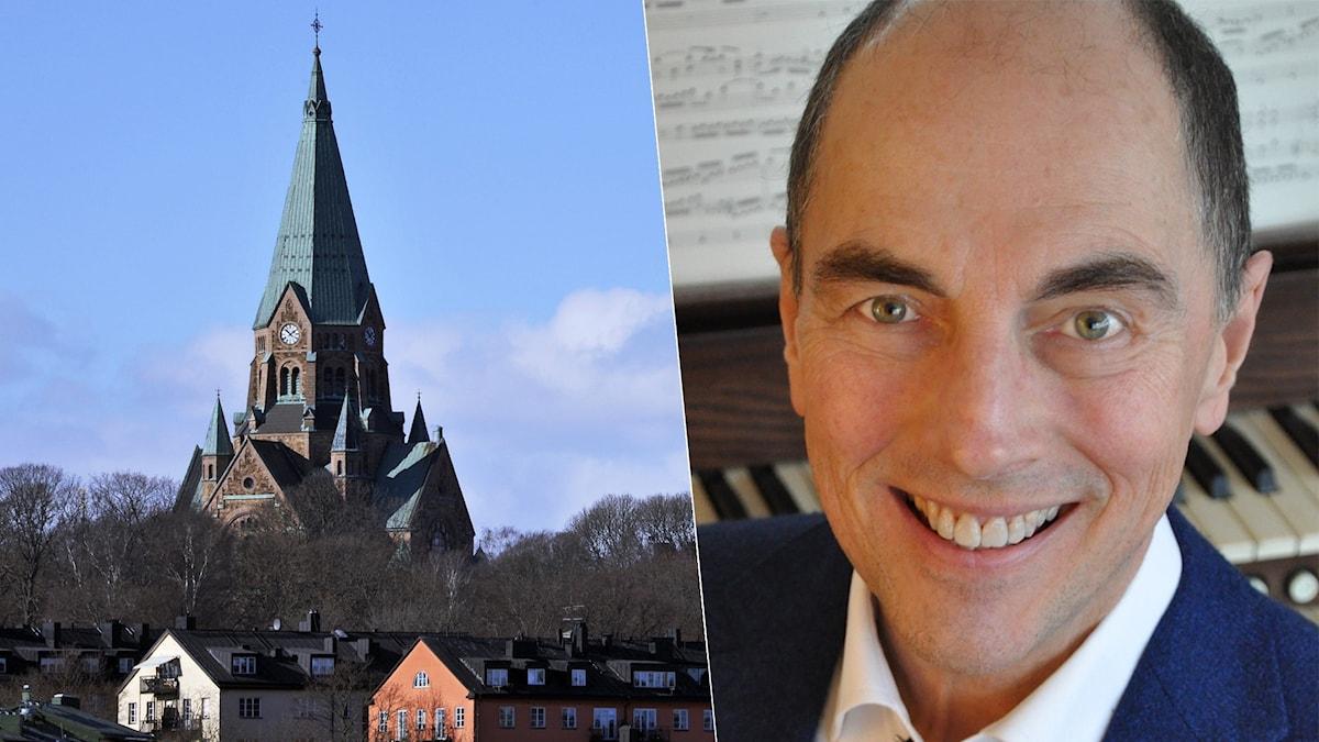 Bild: Sofia kyrka i Stockholm och organisten David Higgs.