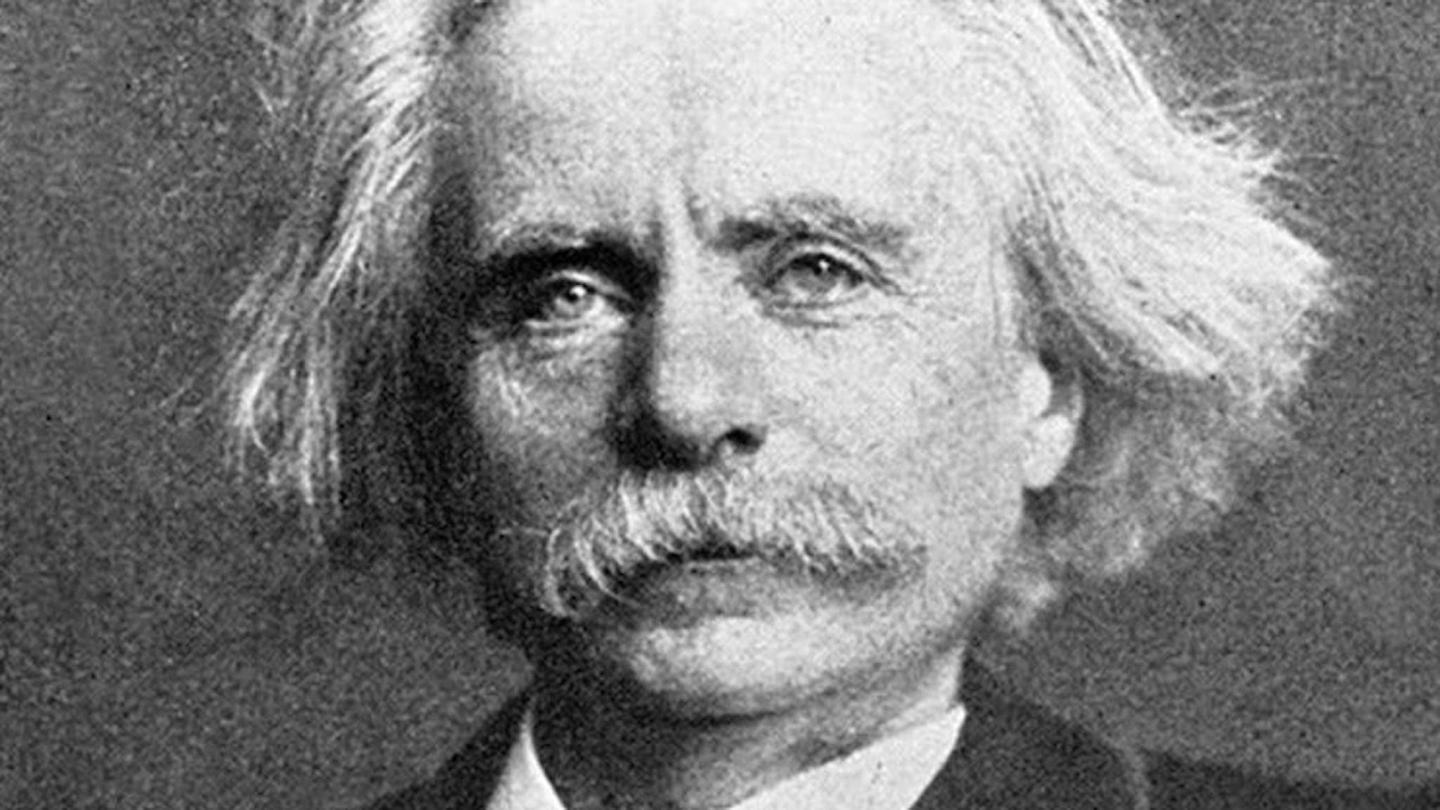 Porträtt av en äldre man med långt hår och rejäl mustasch