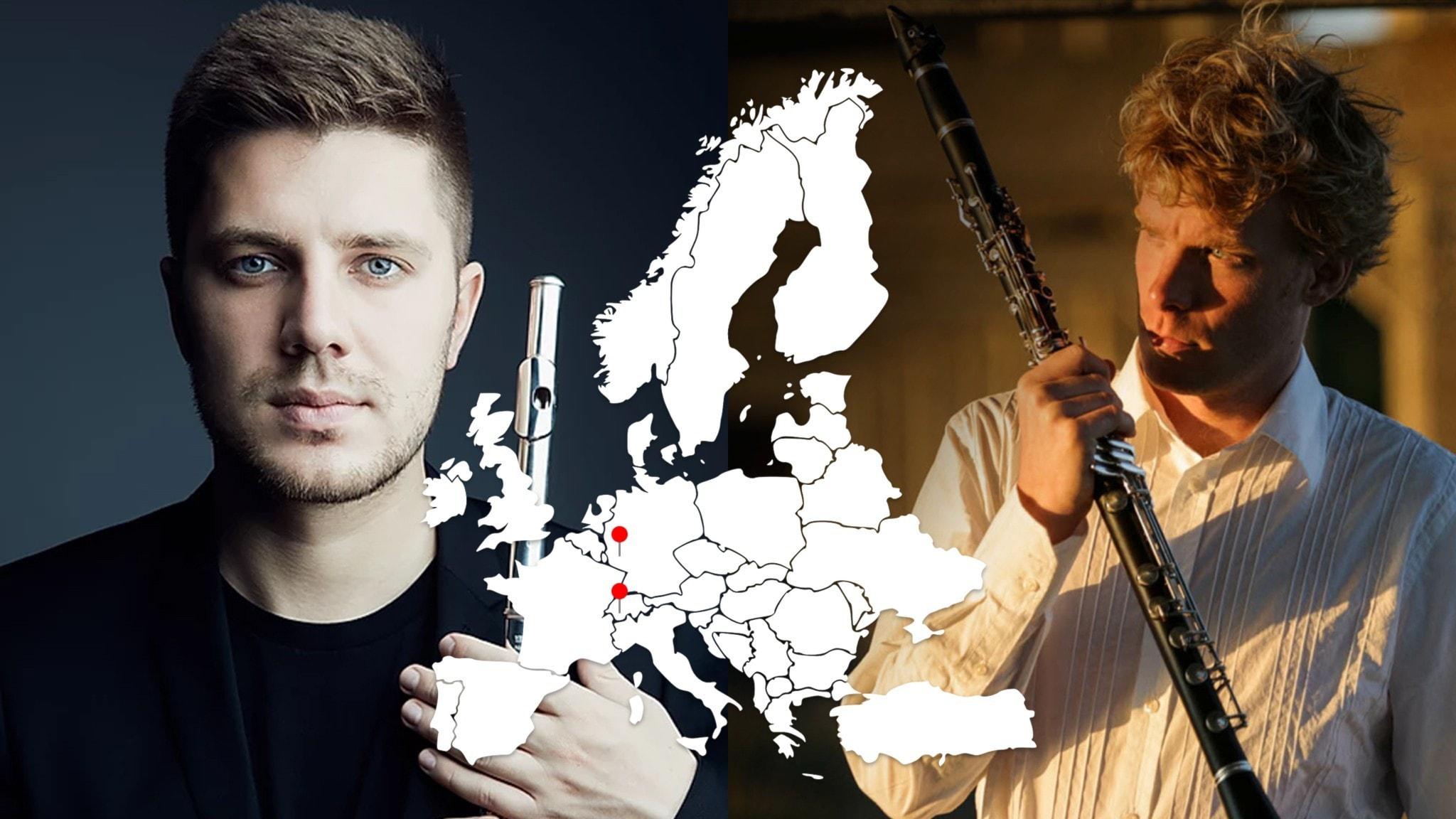 Bild: Flöjtisten Matvey Demin och klarinettisten Martin Fröst.