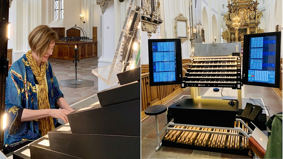 Bild: Kimberly Marshall vid den nya hi tech-orgeln.