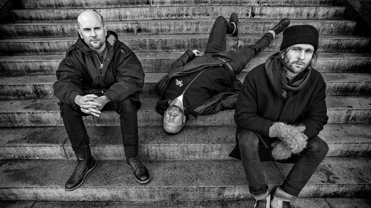 Bild: Fire! Orchestra var först trion Mats Gustafsson, Johan Berthling och Andreas Werliin.