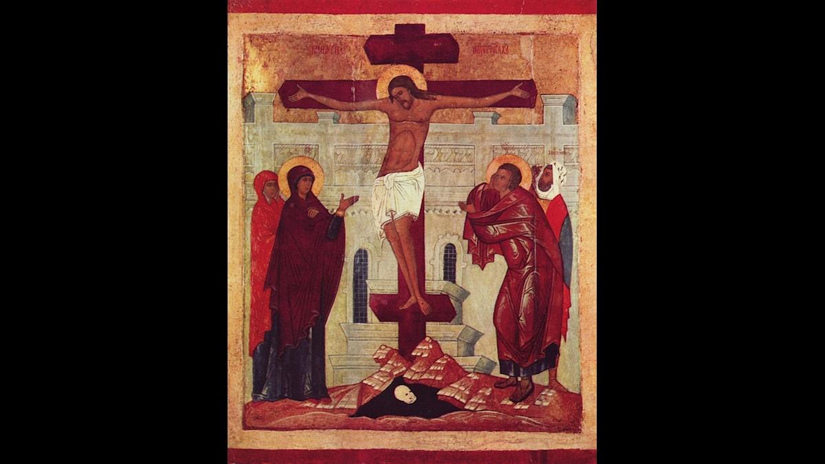 Jesu korsfästelse, ortodox ikon från 1300-talet.