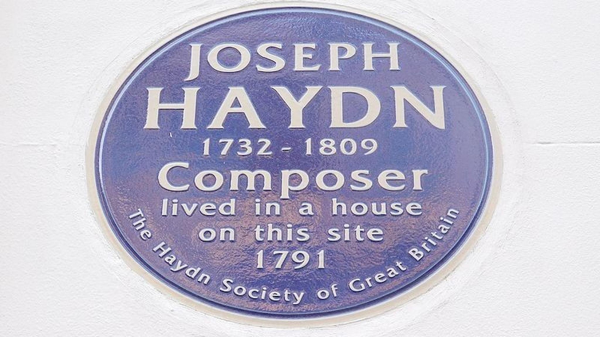Joseph Haydn-plakett på Great Pulteney Street i Soho, London