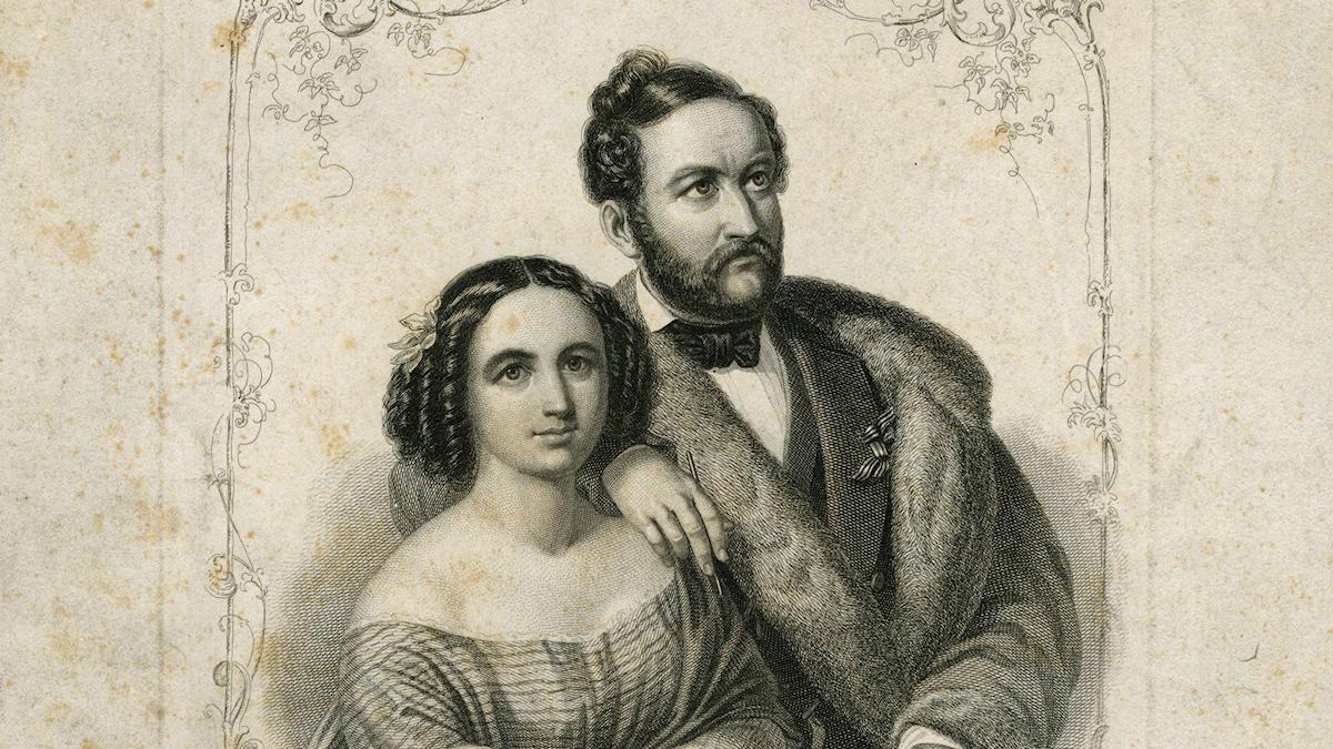 Svart-vit bild av Fanny och Wilhelm Hensel.