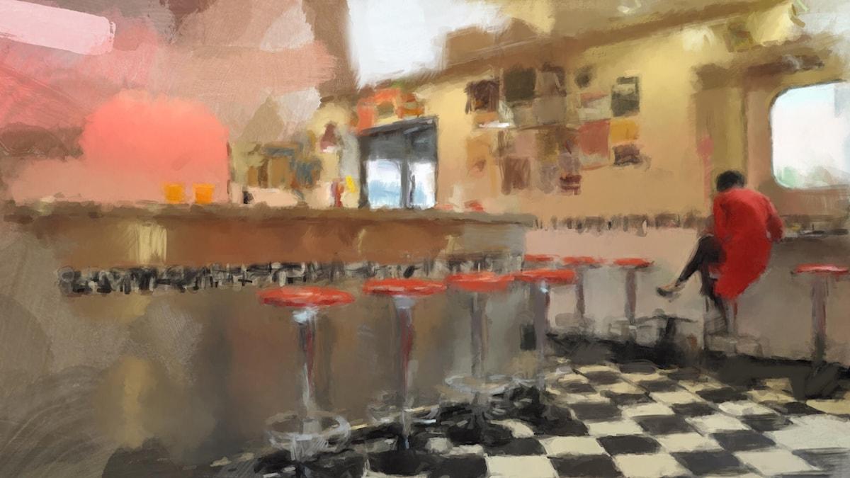 Early Bird at the Diner. Illustration av Mats Ceder