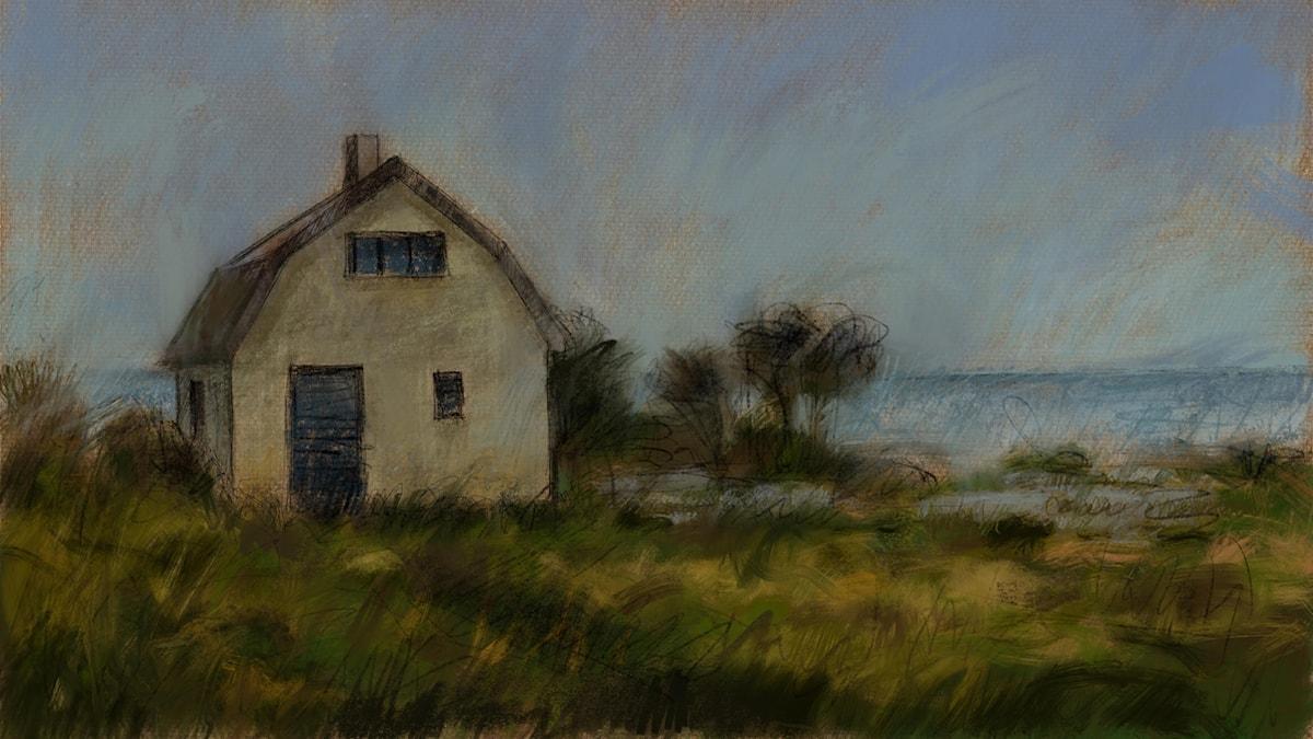 Pärlfiskarens hus Illustration av Mats Ceder