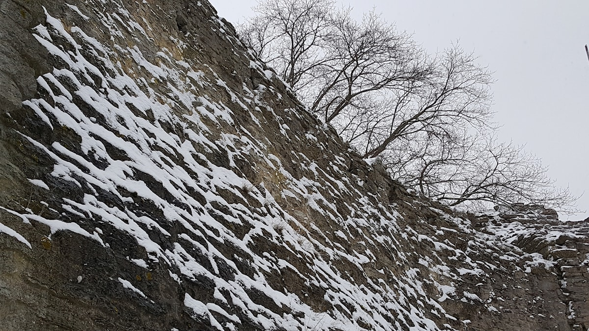 Snö lyser upp Visby ringmur