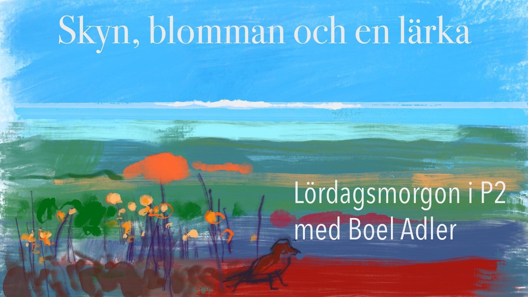 Blå himmel, blått hav och vårliga blommor. Illustration av Mats Ceder