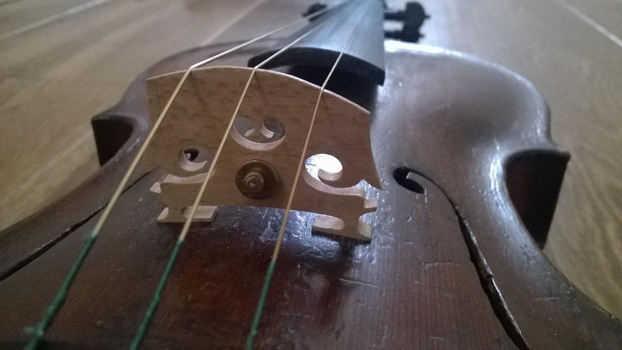 Färgbild på tresträngad violin, s.k. tromba marina - violintrumpet