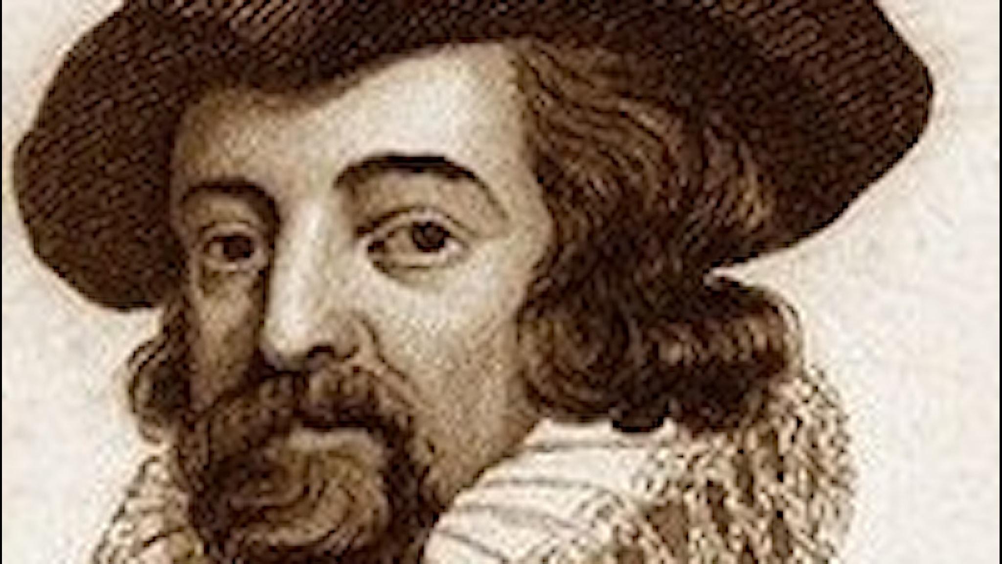 Teckning/etsning av tonsättaren Jacopo Peri från 1600-talet.