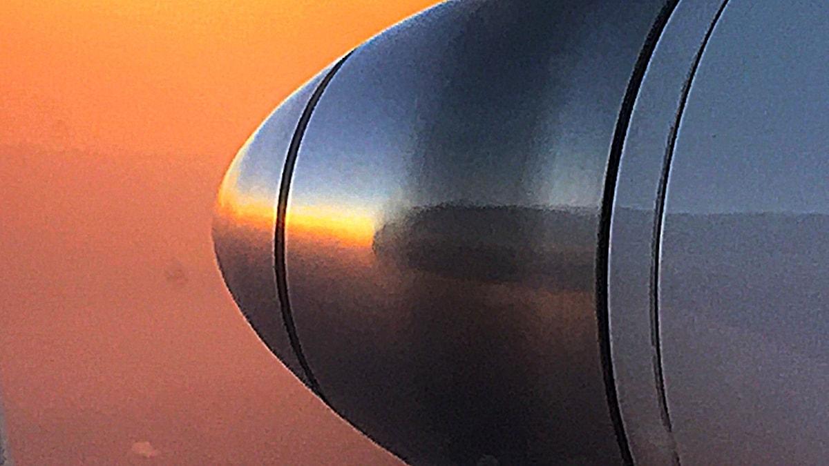 Propellerplan en tidig morgon