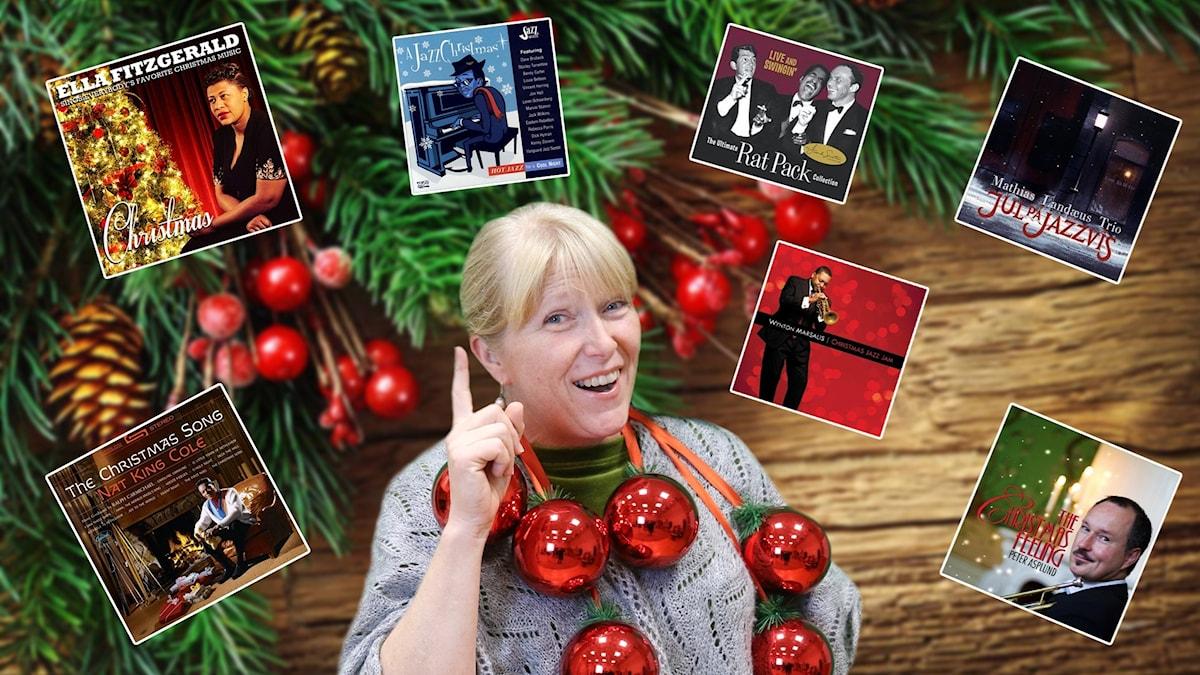 Märet Öman i julmiljö omgiven av jul-skivomslag