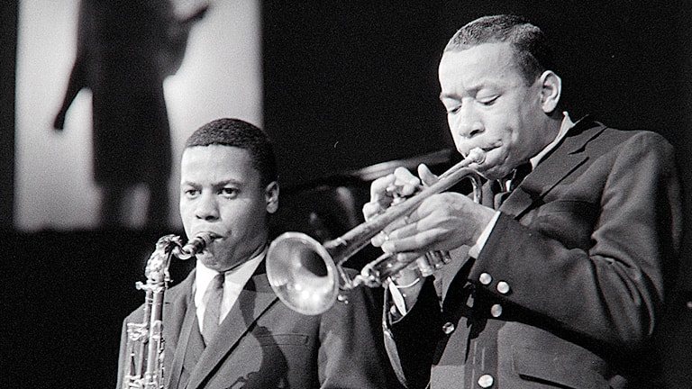 Saxofonisten Wayne Shorter och trumpetaren Lee Morgan i Stockholm 1959
