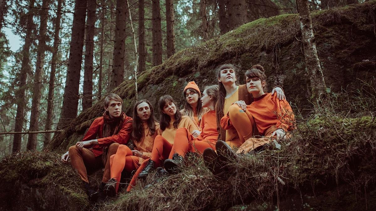 Sju ungdomar i sittande på en klippavsats i skogen