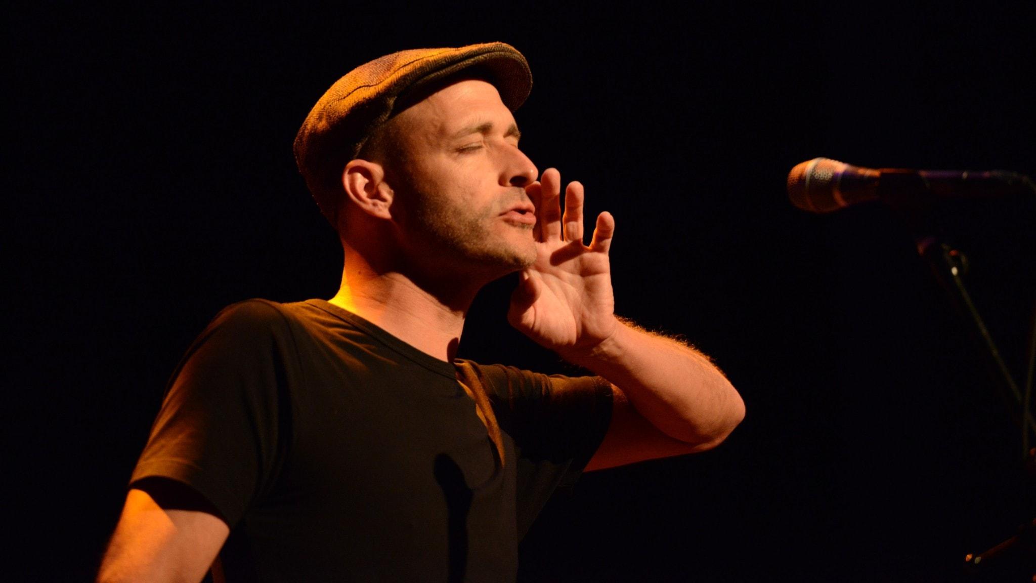 Bild: Röstakrobaten Andreas Schaerer på Ystad jazzfestival.