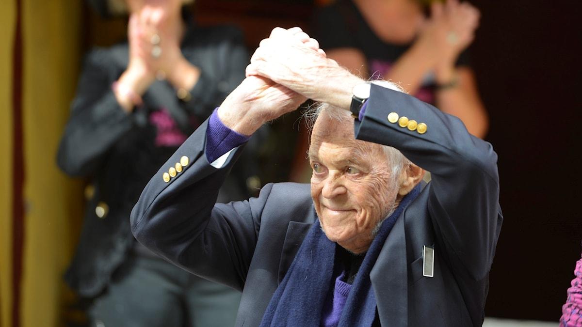100-årige Svend Asmussen i Ystad augusti 2016 för att höra på hyllningskonserten till hans ära.