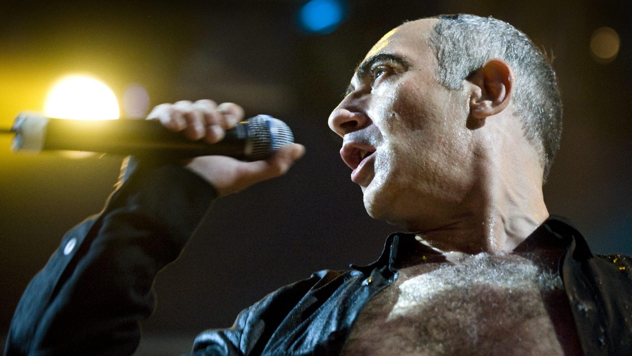 Gabi Delgado-Lopez sjunger i en mikrofon under Arvikafestivalen 2009.