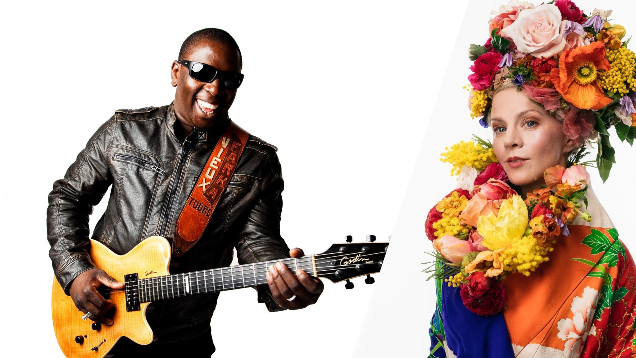 Artisten Vieux Farka Touré och programledaren Esmeralda Moberg