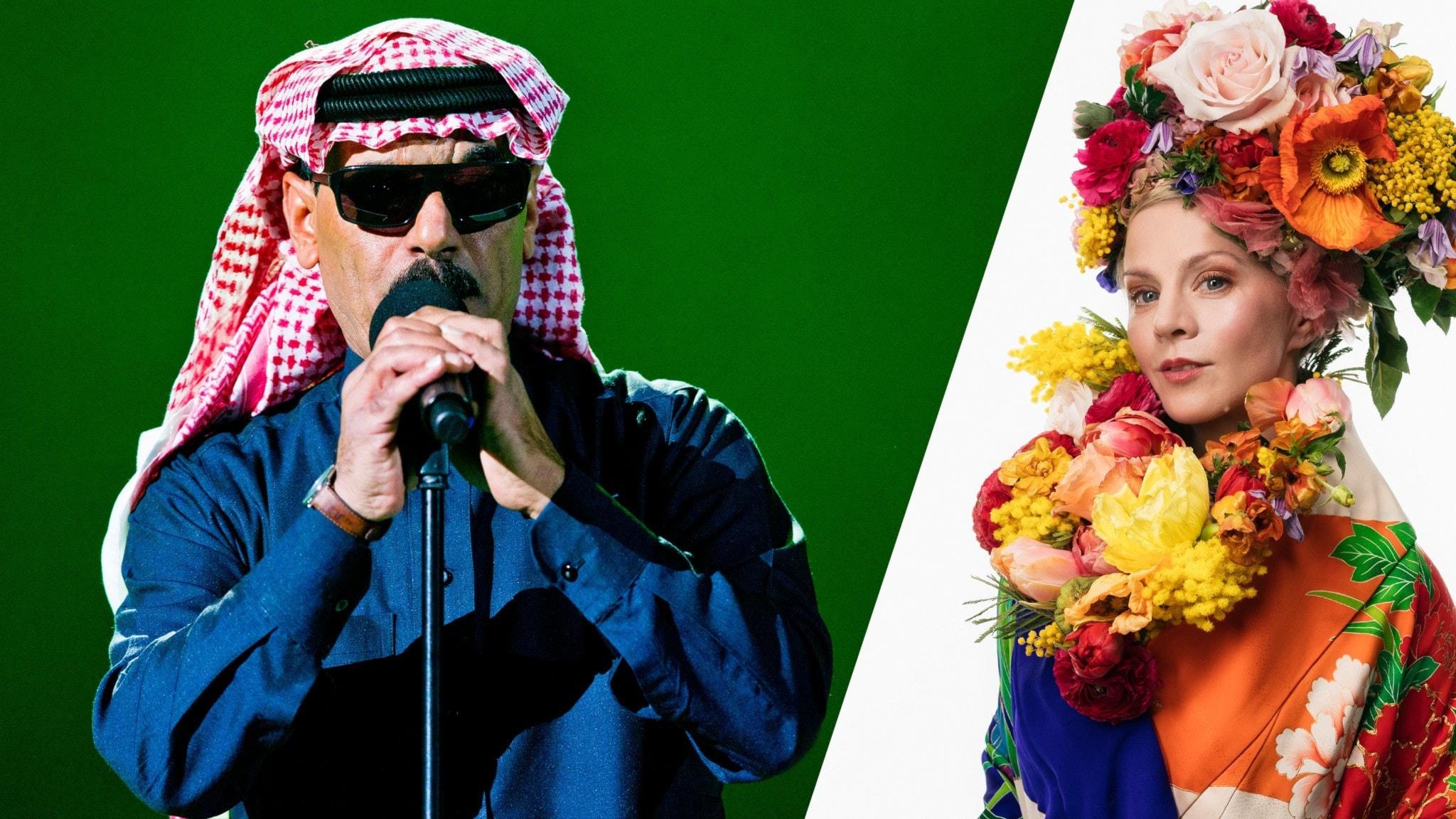 Artisten Omar Souleyman och programledaren Esmeralda Moberg