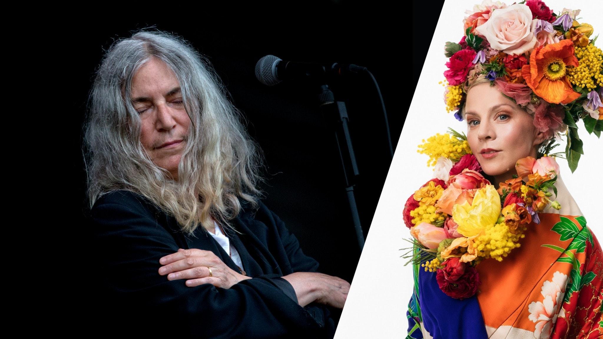 Artisten Patti Smith och programledare Esmeralda Moberg