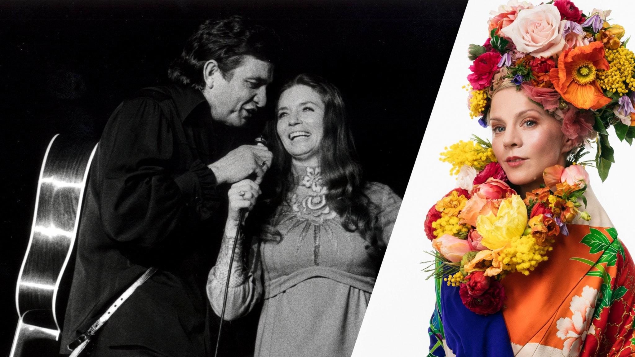 Johnny Cash och June Carter samt programledaren Esmeralda Moberg