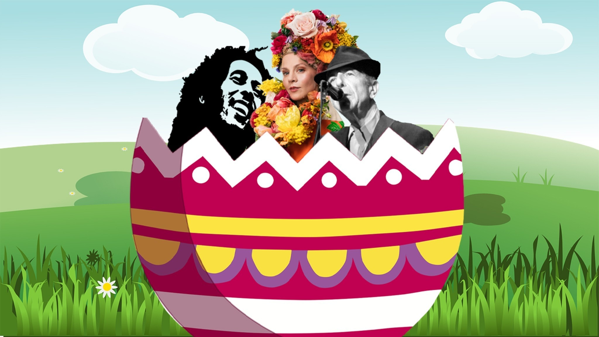 Bild: Esmeralda Moberg i ett påskägg med Bob Marley och Leonard Cohen.