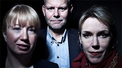 Spänningsförfattarna Kristina Ohlsson, Jan Arnald (Arne Dahl), Åsa Larsson. Foto: Stina Gullander, Sveriges Radio