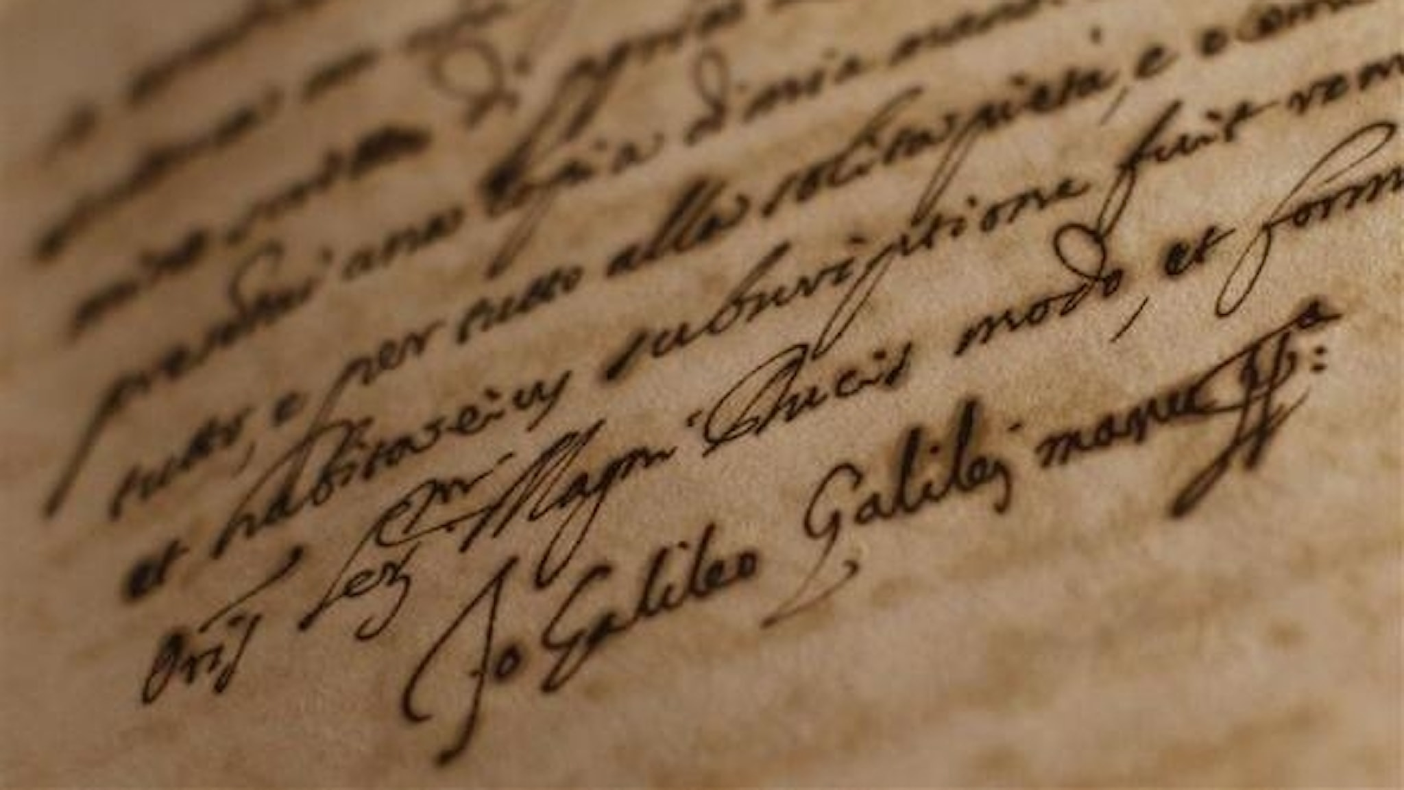 Galileo Galileis namnteckning ur Vatikanens arkiv