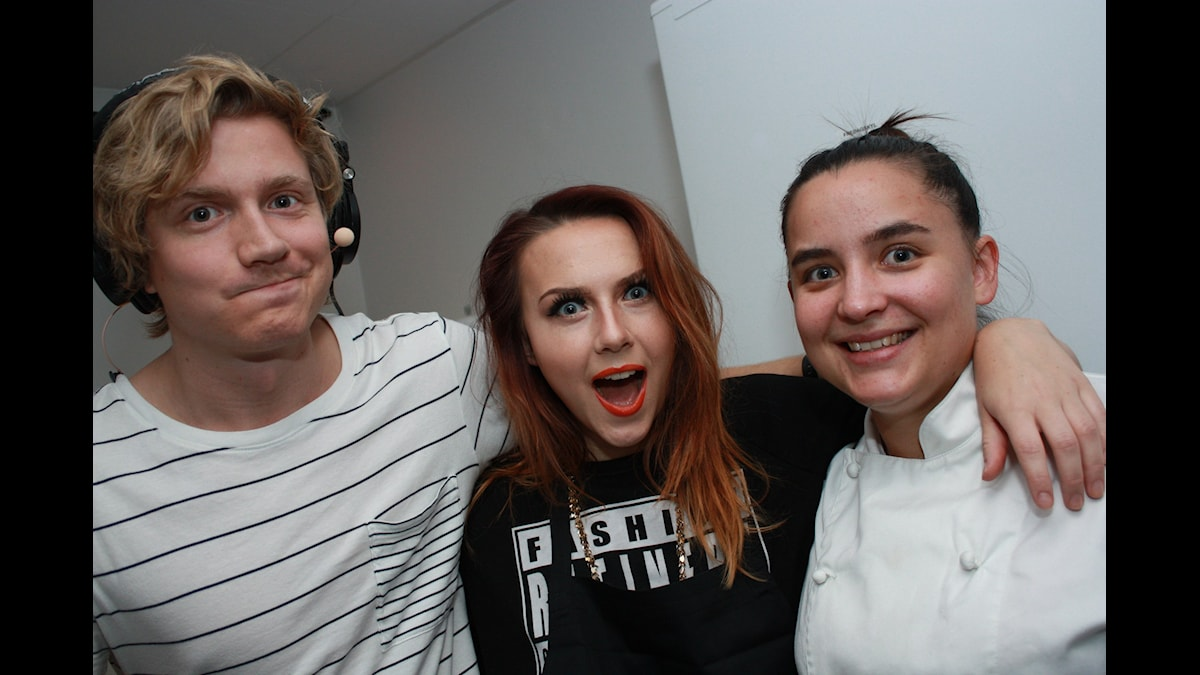Adrian, Amanda och KockLinn! Foto: Emilia Melgar/ SR