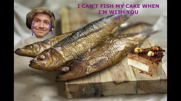 Adrian är ledsen för han kan inte fish his cake.