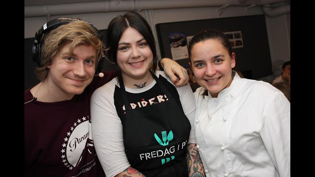 Adrian, Utmanar-Molly och KockLinn! Foto: Emilia MElgar/ SR