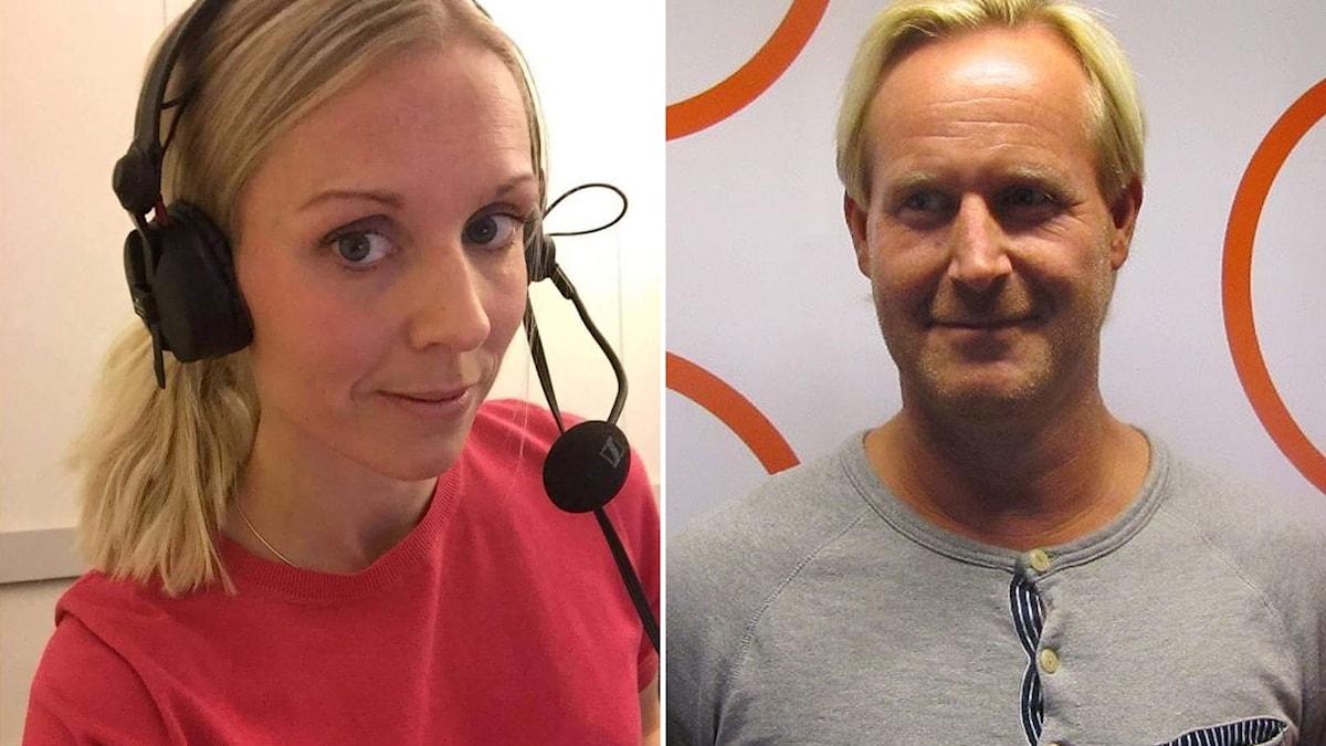 Elisabeth Lindbäck, hockeyreporter och krönikör på Kvällsposten i Malmö och Radiosportens hockeyreporter Magnus Wahlman.