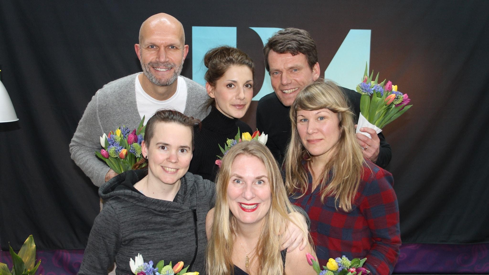 Henrik Hjelt, Nina Zanjani, Mattias Konnebäck, Sara Lövestam, Annika Lantz och Jenny Andreasson.