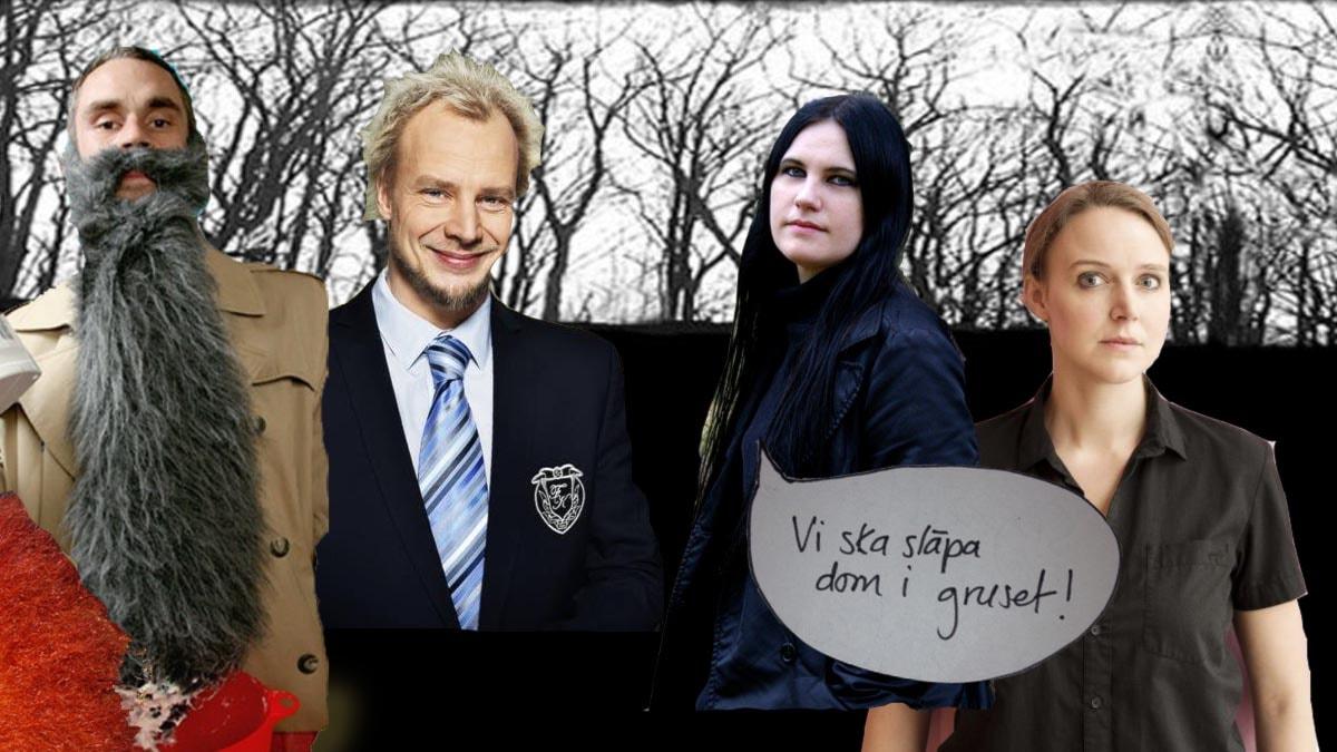 Jonas Leksell, Hans Wiklund, Åsa Grennvall och Sofia Olsson tävlar i Lantzkampen Foto: SVT, Kanal 5, Ordfront, Galago. Bilden är ett montage