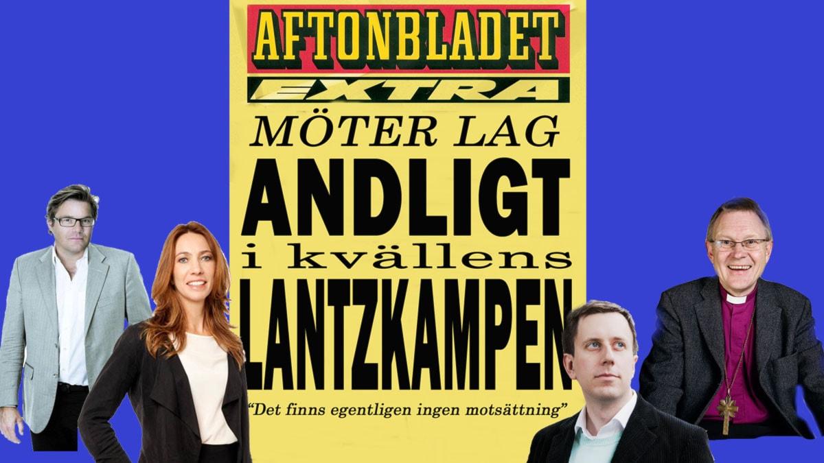Aftonbladet möter andligheten - Jan Helin, Karin Magnusson, Eric Schüldt och Anders Wejryd Fotografiet är ett montage.