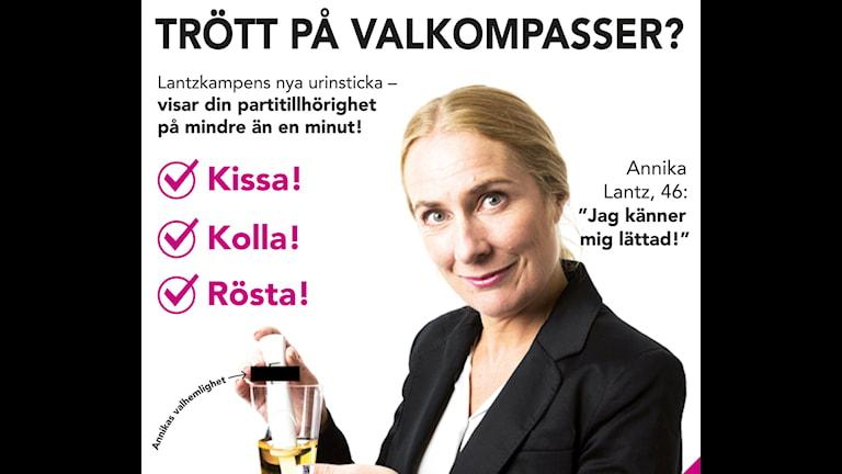 Annika Lantz med urinstickan som visar din valhemlighet. Foto: Mattias Ahlm. Grafik: Liv Widell.