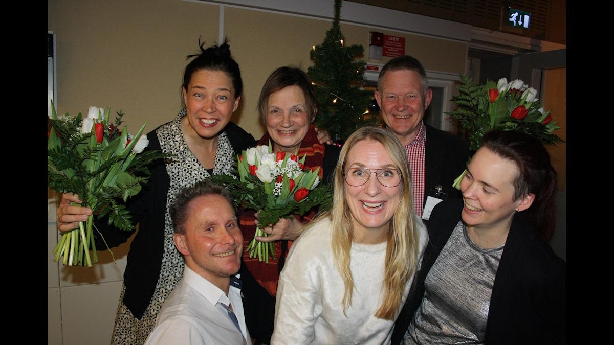 Marie Lundström, Ulph Nyström, Birgit Carlstén, Annika Lantz, Anders Wejryd och Sara Lövestam. Foto: Anna-Karin Ivarsson/SR.