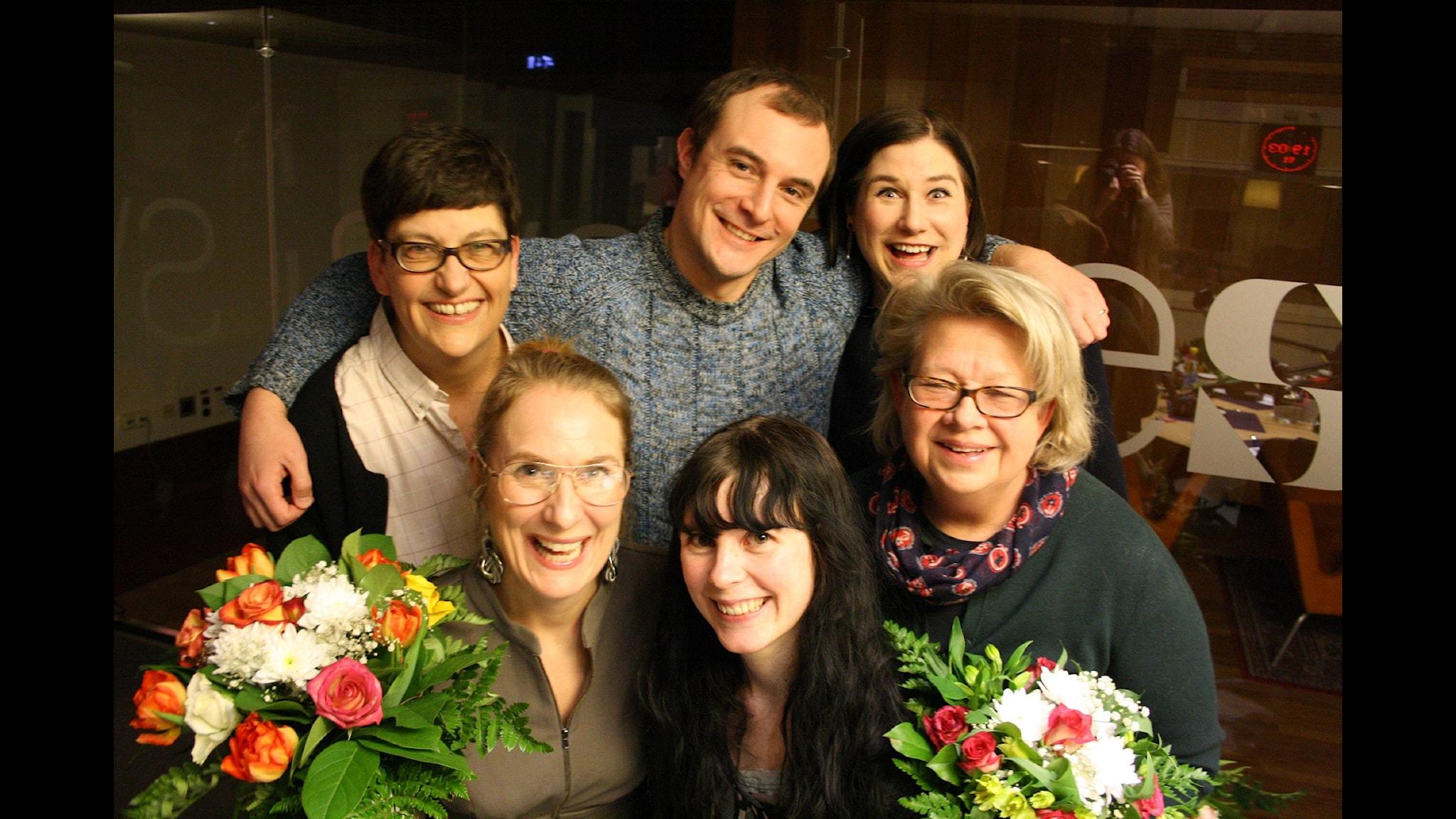Kristin Lundell, Johan Hilton, Helle Klein, Karin Lennmor, Annika Lantz och Elin Lövestam. Foto: Anna-Karin Ivarsson/SR.