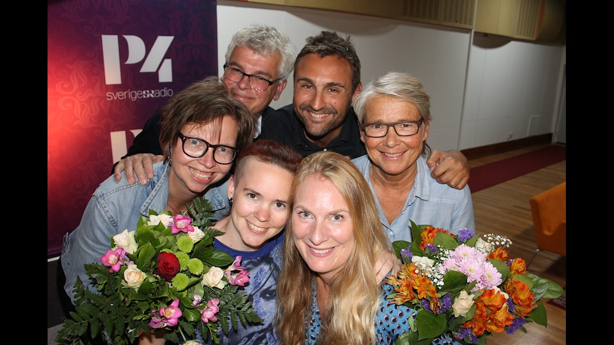 Maja Aase, Sara Lövestam, Mårten Castenfors, Annika Lantz, Marianne Hasslow och Johar Bendjelloul. Foto: Anna-Karin Ivarsson/Sveriges Radio.