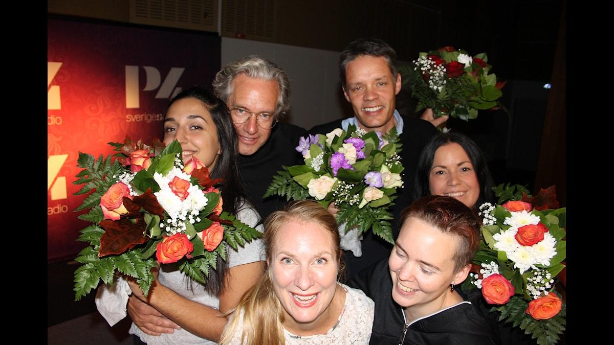 Ulf Danielsson, Anders G Carlsson, Martina Thun, Parisa Amiri, Annika Lantz och Sara Lövestam. Foto; Anna-Karin Ivarsson/Sveriges Radio.