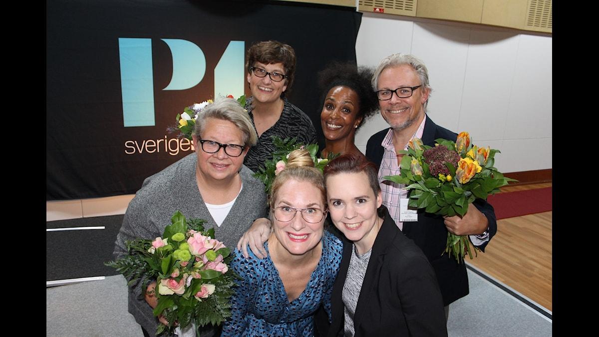 Karin Lennmor, Helle Klein, Annika Lantz, Marika Carlsson, Sara Lövestam, Staffan Dopping och Marika Carlsson. Foto: Anna-Karin Ivarsson/Sveriges Radio.