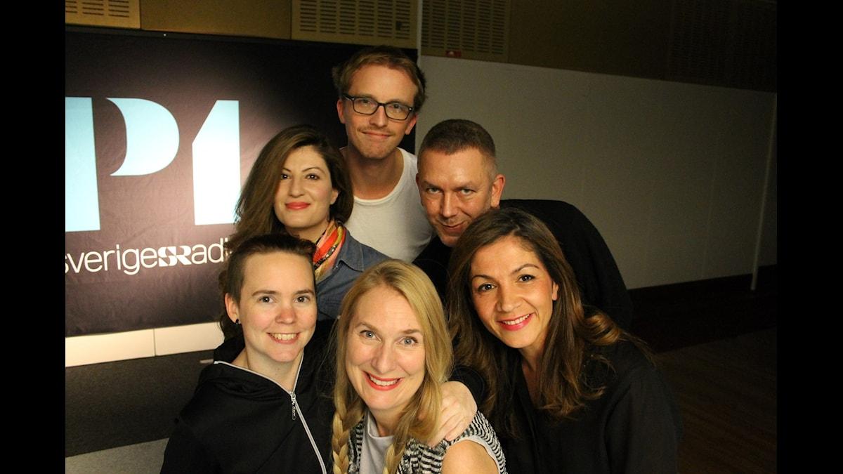 Sara Lövestam, Nisti Sterk, Ola Söderholm, Annika Lantz, Andres Lokko och Gulan Avci. Foto: Anna-Karin Ivarsson/Sveriges Radio.