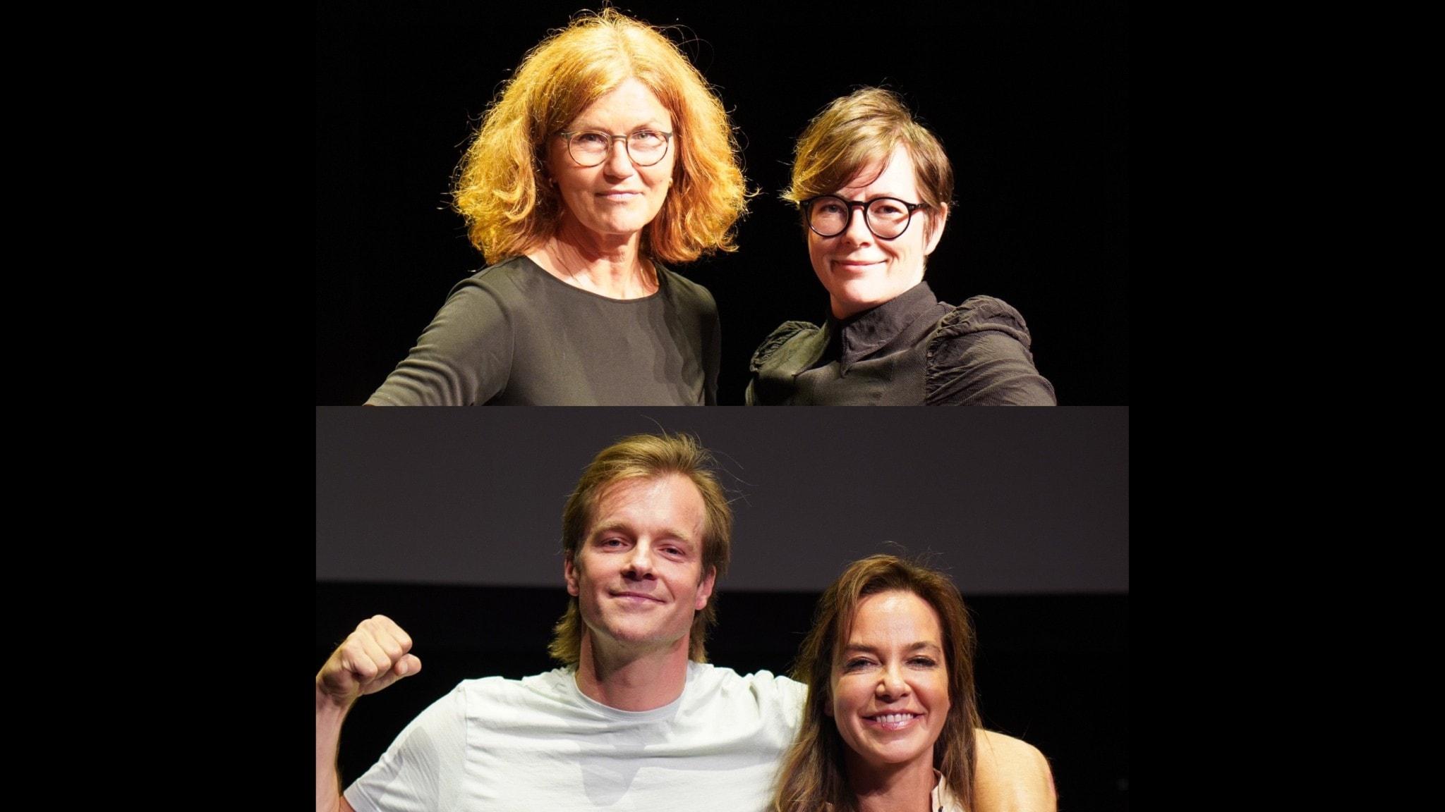 Lantzkampen i P1 är en frågesport om veckans nyheter. Programledare är Annika Lantz.  På bilden: Heidi Avellan & Moa Berglöf samt Henrik Johnsson & Li Pamp.