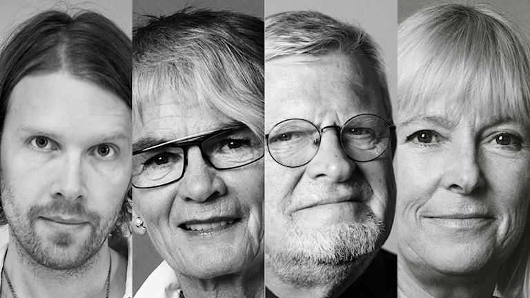 Peder Stenberg, Ella Nilsson, Martin Lind och Bi Puranen. Foto: Elin Berge, Mattias Ahlm och Julia Lindemalm / Sveriges Radio