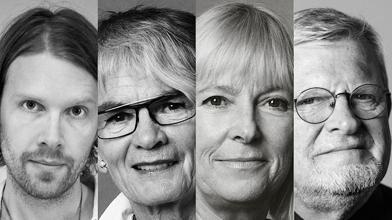 Peder Stenberg, Ella Nilsson, Bi Puranen, Martin Lind. Foto: Elin Berge, Mattias Ahlm, Julia Lindemalm / Sveriges Radio