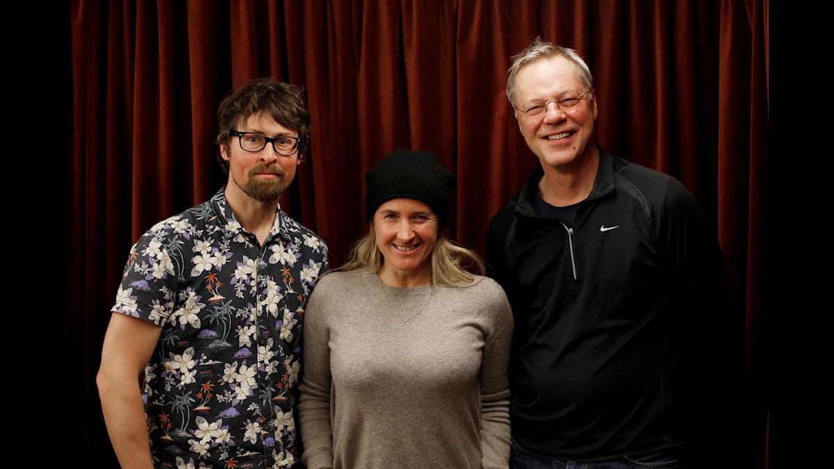 Natanael Derwinger, Denise Rudberg, Svante Weyler. Foto: Johanna Arnström/SR