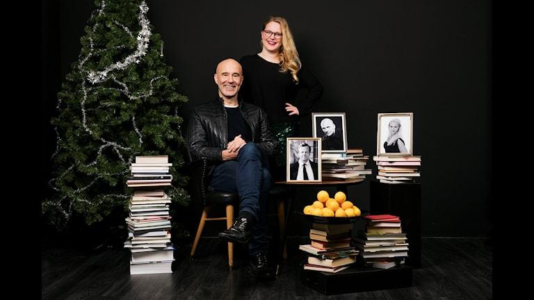 Min Bokhyllas programledare Mark Levengood och Jenny Lindh 2015