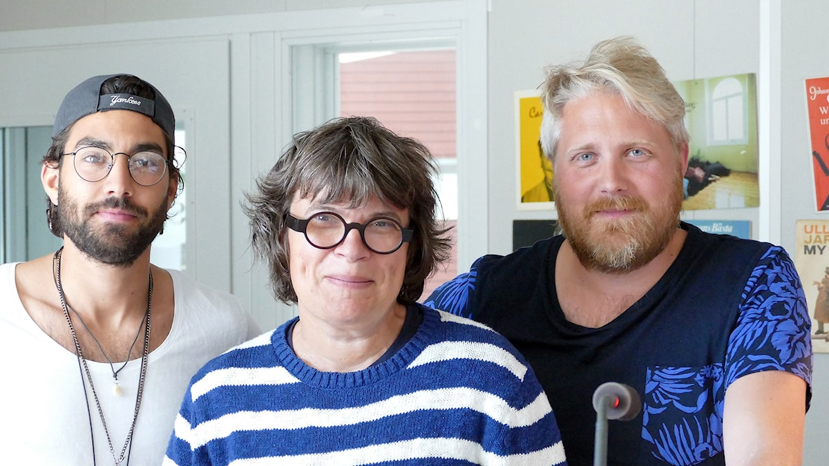 Demir Lilja, Amelie von Zweigbergk och Anton Kalm. Foto: Jonas Neuman/Sveriges Radio